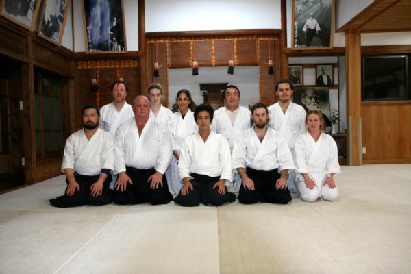 Waka Sensei med medlemmar från Stockholms Aikidoklubb, från vår resa till Japan 2018.
