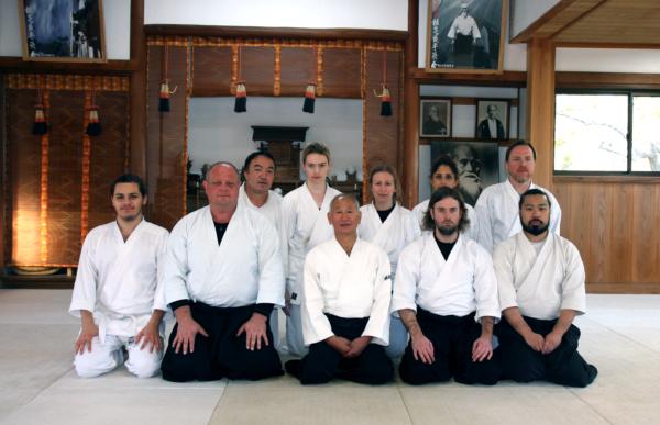 Inagaki Sensei med Stockholms Aikidoklubb. Från vår träningsresa till Japan 2018.